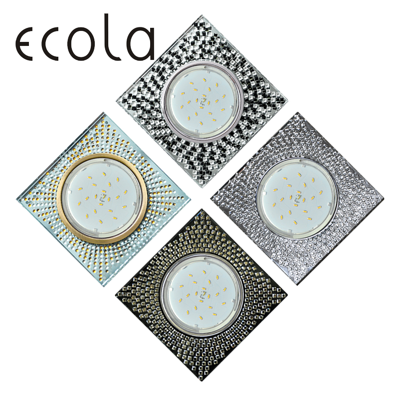 Ecola GX53 H4 5352 Glass Recessed Ceiling Downlight square with mosaic Spotlight Spot lamp GX53 40x123x123 лампочка ecola led gx53 8w tablet 220v 6400k матовое стекло t5md80elc