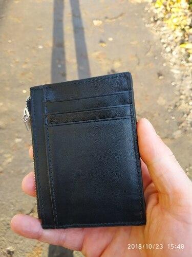 Mini Genuine Leather Men Wallet Slim Men's Wallets Small Male Purse Card Holder Cow Leather Coin Pocket Men Wallet Zipper Pocket photo review