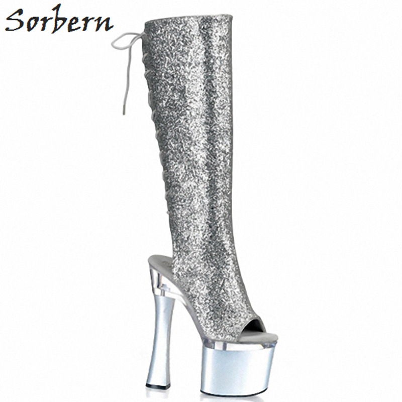 Sorbern Sexy Custom Leg Knee High Boots For Women Open Toe Lace Up Shoes Ladies Platform Boots Gothic Punk Boots Womans Shoes apoepo punk style silver mirror boots women lace up platform high heels shoes women boots sexy nightclub singer short boots