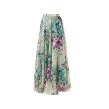 Новое Бохо женское шифоновое длинное цветочное с высокой талией макси расклешенное плиссированное платье с коротким и широким подолом Длинная летняя пляжная юбка