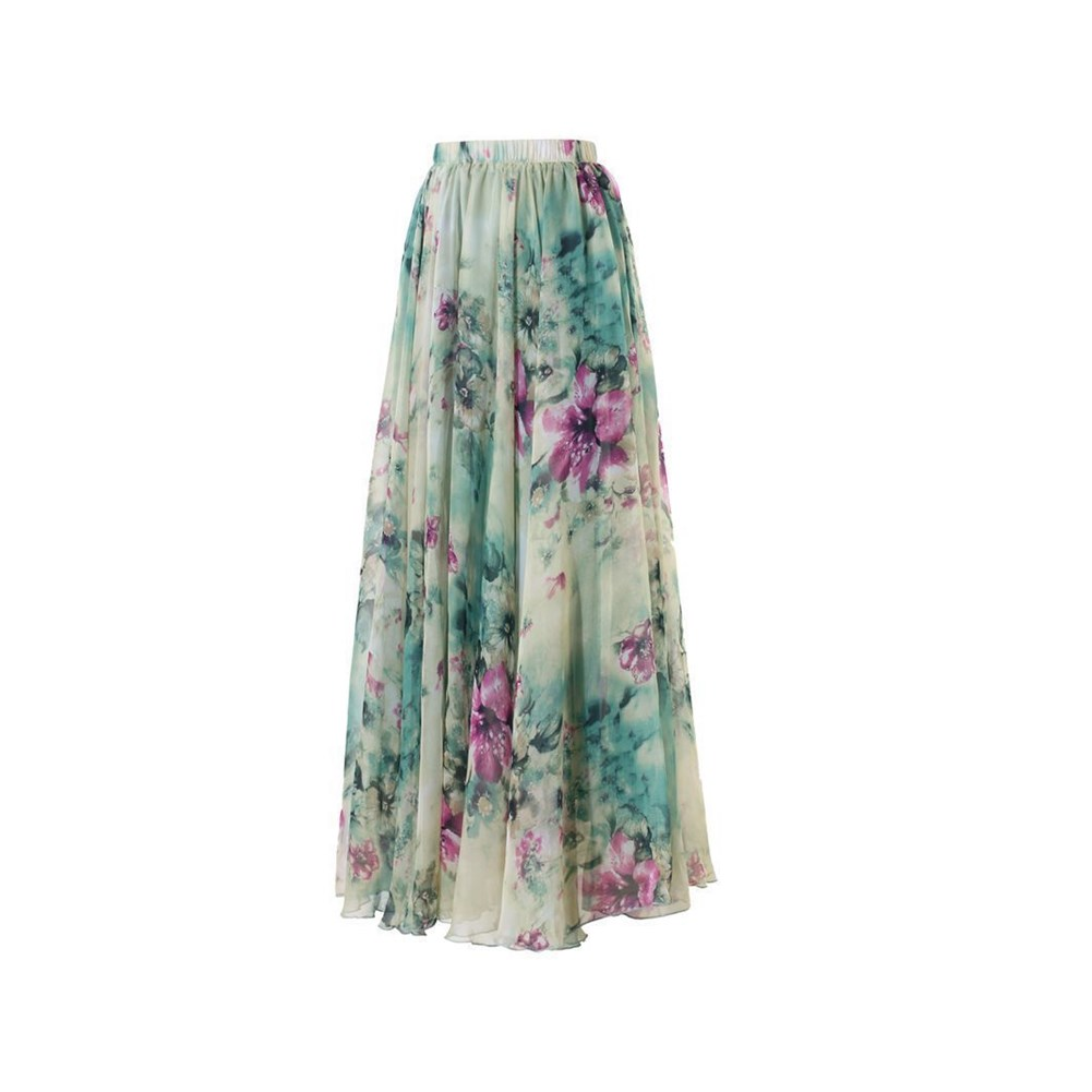 2018 New Boho Women Chiffon Long Floral High Waist Maxi Skater Flared Pleated Long Summer Beach Skirt