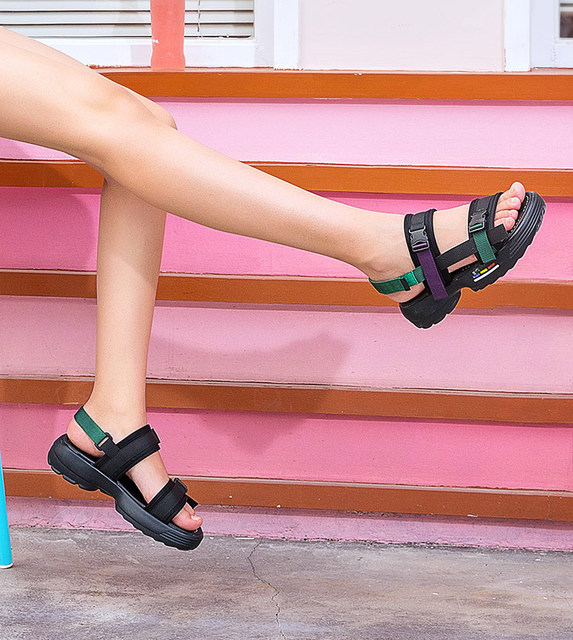 Flat Casual Women Fashion 2019 Buckle Sapato Sandals Rise Shoes High Wild New Wedges Breathable Summer Camel Feminino EIeH2WD9Y