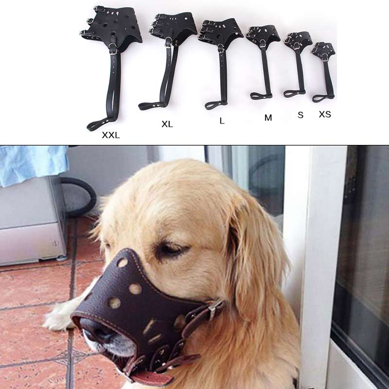 Best Seller 2018 Top 10 Selling Products Dog Mouth Mask Anti Bite Dog PU Leather Adjustable Breathable bozal perro Grooming  E