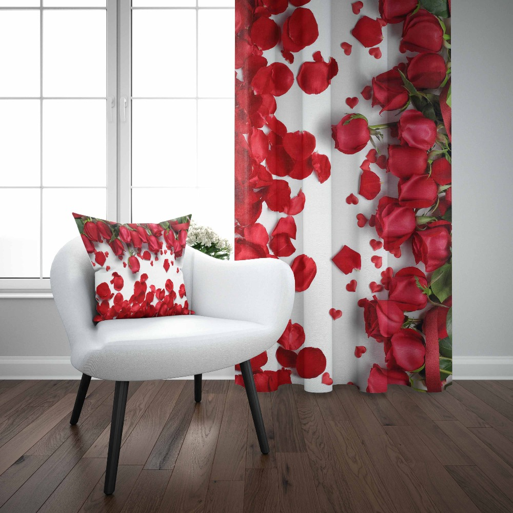 Else White Floor Red Roses Red Leaves Flowers  Floral 3D Print Living Room Bedroom Window Panel Curtain Combine Gift Pillow Case