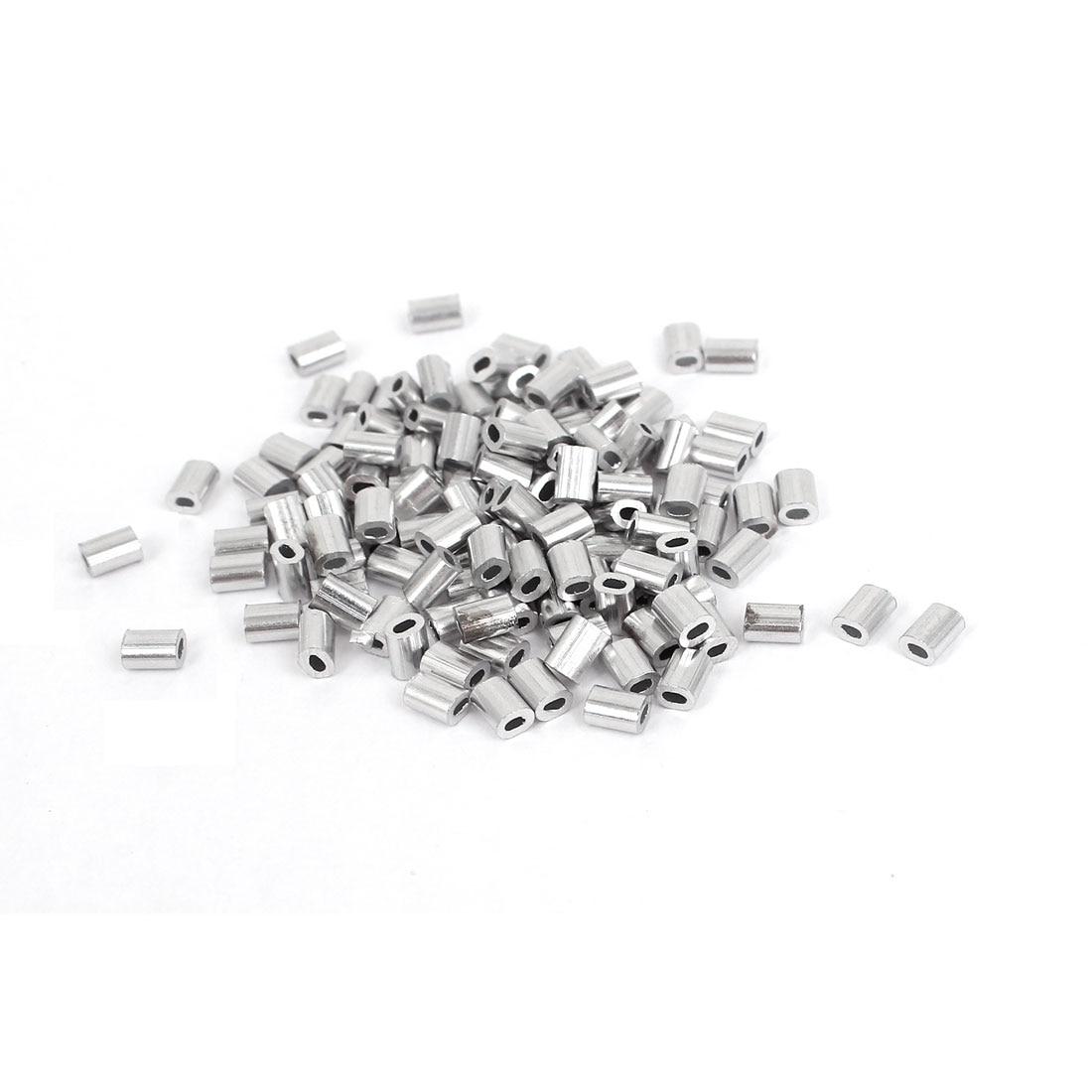 UXCELL Hot Sale 100 unidades/pacote 1mm Fio de Alumínio Cabo Crimps Mangas Clipe Fittings Laço Luva Cordas Ponteiras de Prata tom