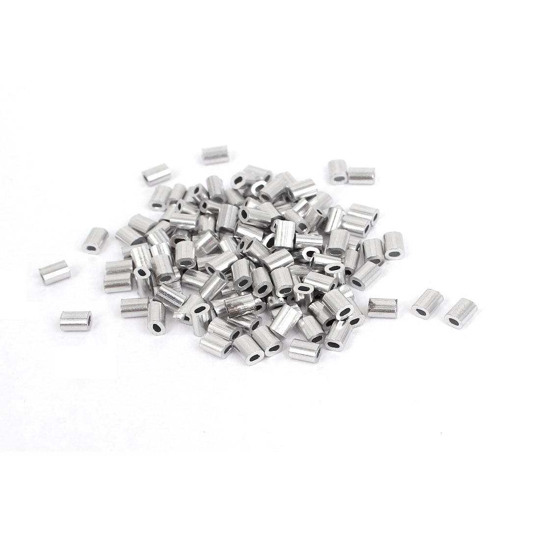UXCELL Hot Sale 100Pcs/PACK 1mm Wire Rope Aluminum Sleeves Clip Fittings Loop Sleeve Cable Crimps Ropes Ferrules Silver Tone