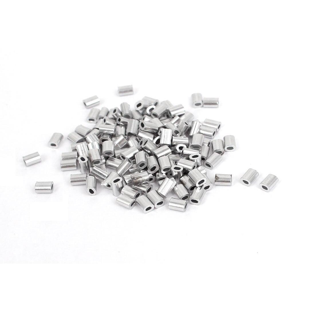 UXCELL offre spéciale 100 pcs/paquet 1mm câble en aluminium manches Clip raccords boucle manchon câble sertissages cordes Ferrules argent ton