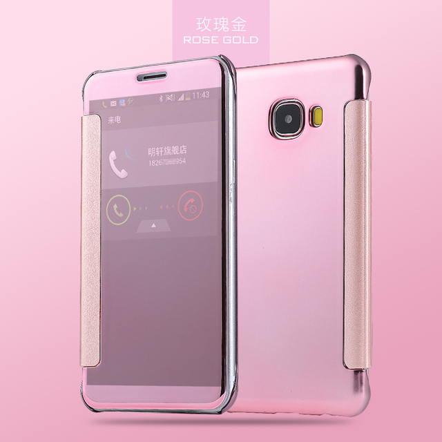 For Samsung Galaxy c9 pro C9000 SM-C9000 Case Original Translucent Plated mirror window clear View Flip Cover C 9 Pro C9Pro C 90