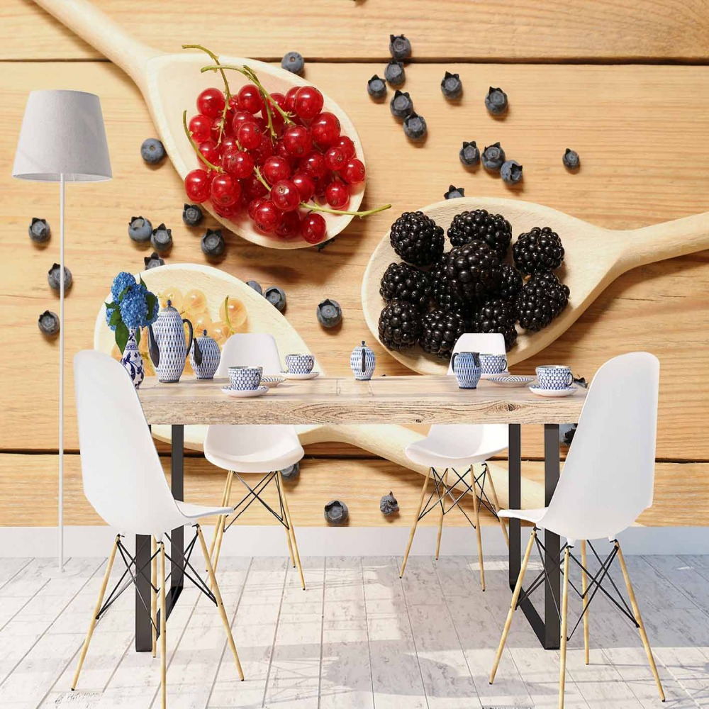 Else Brown Wood Table On Spoons Red Black Spices 3d Print Photo Cleanable Fabric Mural Home Decor Kitchen Background Wallpaper