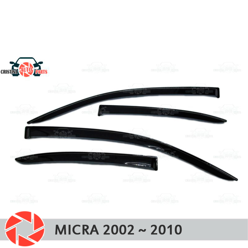 Window deflector for Nissan Micra 2002-2010 rain deflector dirt protection car styling decoration accessories molding free shipping 2pcs lot h11h8h1h79006 fog light bulb for nissan almera 00 06 interstar 2002 micra iii k12 03 11 patrol 83 05