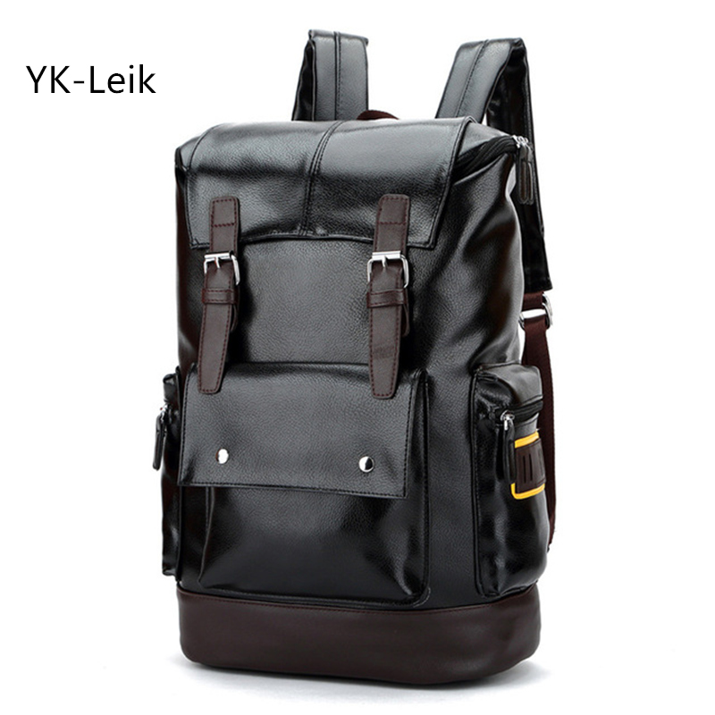 YK-Leik 2017 large capacity leather  backpack for men  computer bag School bags Travel laptop backpacks mochila masculina comics anime batman backpack large capacity leather school bags cartoon animation hero bat men men travel bag mochila escolar