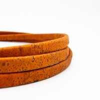 10x5mm Orange Licorice Leather Cork Cord Portuguese cork jewelry supplies /Findings cord vegan COR-349