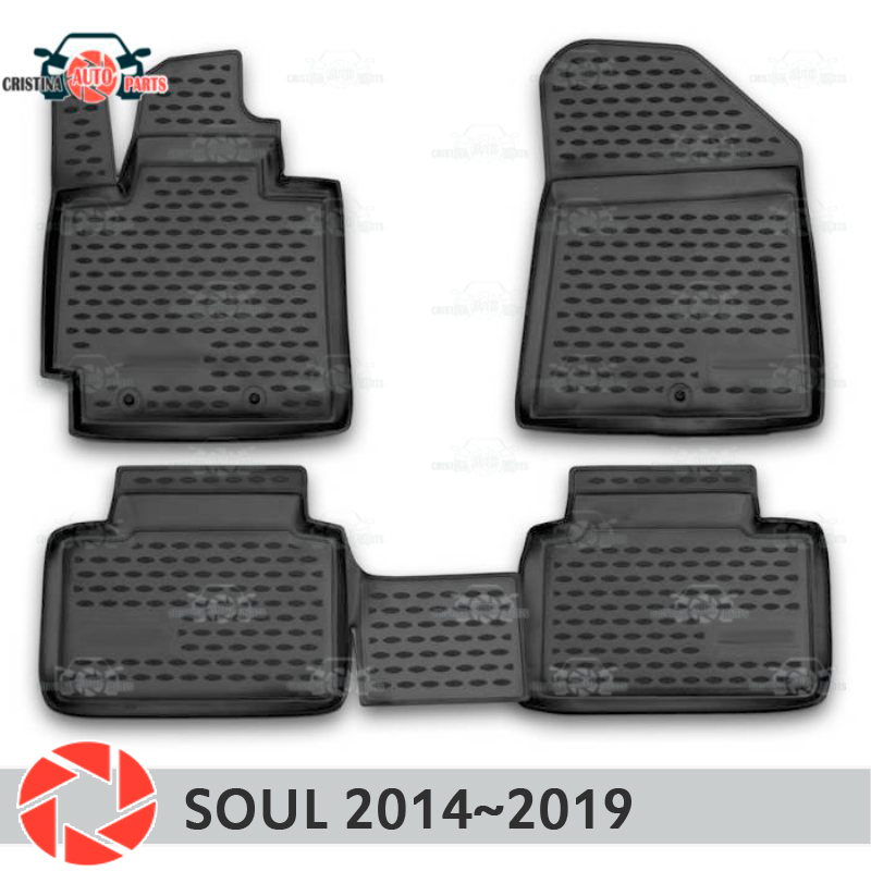 Floor mats for Kia Soul 2014~2019 rugs non slip polyurethane dirt protection interior car styling accessories