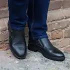 Кожаные мужские ботинки с отделкой из натурального меха - 6