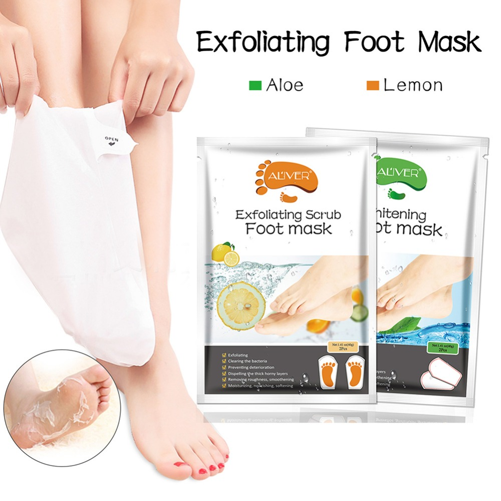 2pcs/Pair Lemon Exfoliating Foot Mask Moisturizing Hydrating Whitening Feet Care Remove Dead Skin Foot Peeling Foot Mask TSLM2