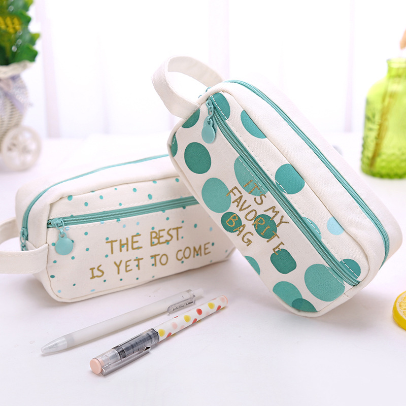 Kawaii green dot pencil case Cute Canvas big capacity pen pouch Storage Organizer bag Korean stationery office school supplies cute cat pen holders multifunctional storage wooden cosmetic storage box memo box penholder gift office organizer school supplie