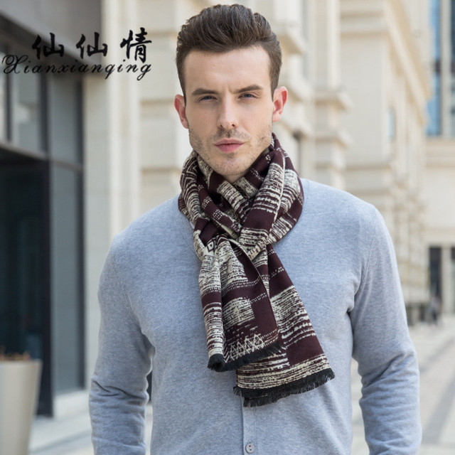 646881abe XIANXIANQING Winter Men Scarf Fashion Knitted Scarves Classical Scarf For  Men Imitation Cashmere Scarves Tassel Shawls AL19050