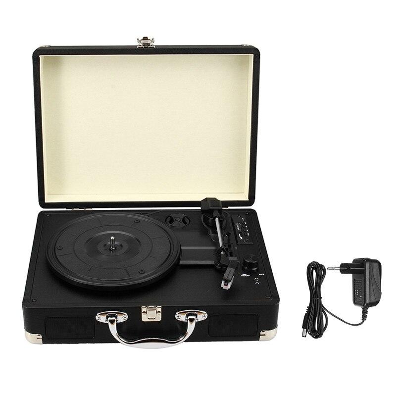 Классический проигрыватель плеер черный чемодан Фонограф ЕС подключите ручку для переноски функция Bluetooth с SD/USB и FM играть 3.5 мм и RCA коридор