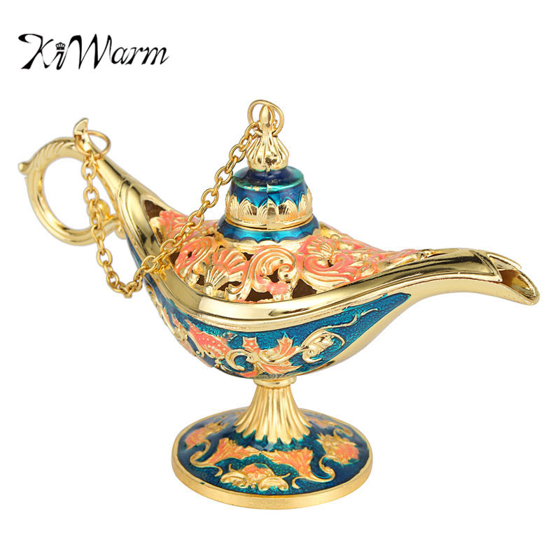 Kiwarm vintage hollow carved zinc alloy wishing aladdin for Decoration zinc