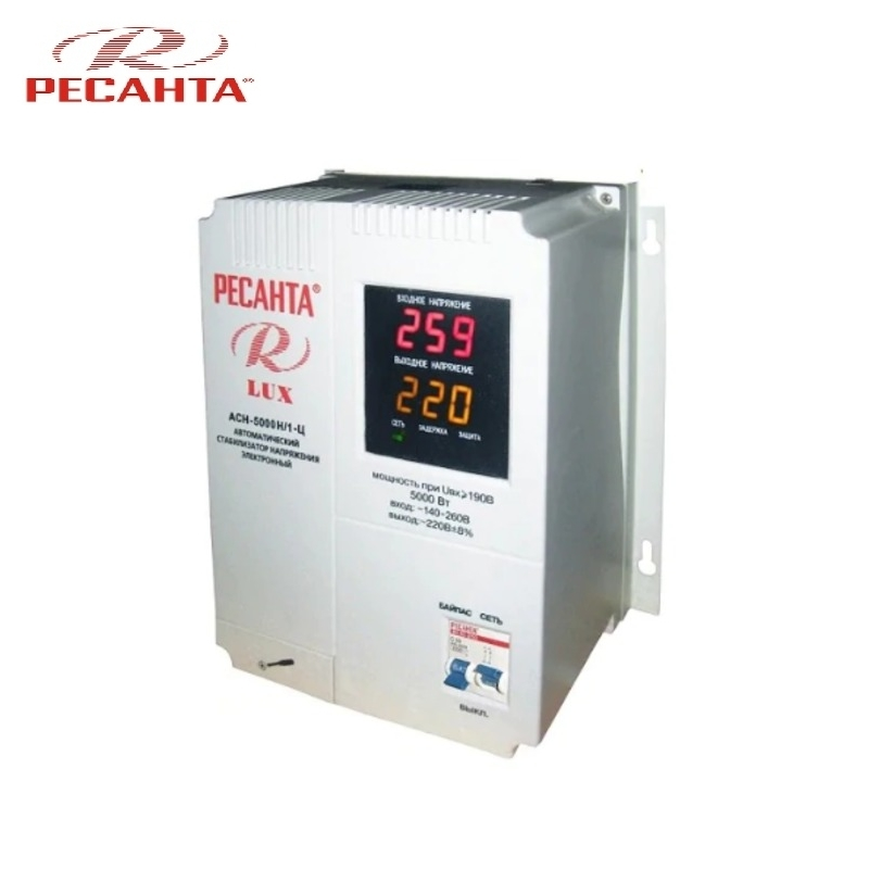 Single phase voltage stabilizer RESANTA ASN-5000N/1-C LUX Relay type Voltage regulator Monophase Mains stabilizer Surge protect voltage regulator resanta asn 12000 n1 c