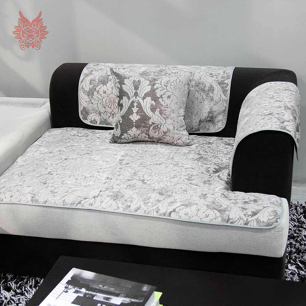 Europe style grey red purple yellow classtic floral Chenille jacquard  double faced sofa cover fundas de sofa couch covers SP5432