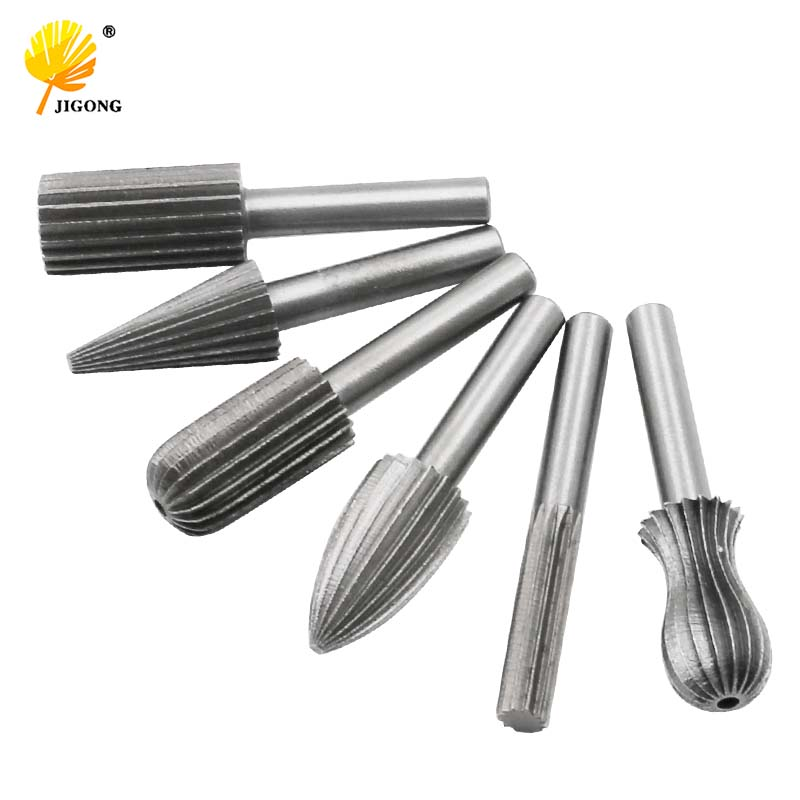 6pcs Carbide Cutter Rotary Burr Set CNC Engraving Bit Rotary File Bur Burr Grinding Shank 6mm 1/4 For Dremel Rotary Tools New