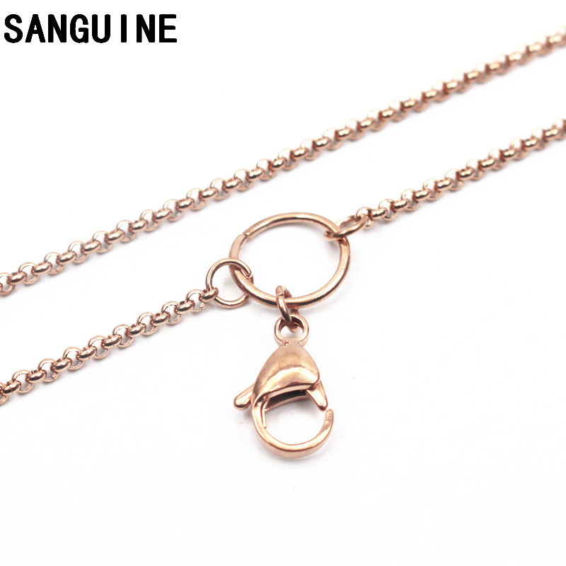 Hot Sale 1pcs 32 Inches Stainless Steel Chains Rose Gold Rolo Lobster Clasp Chain Necklace For Women Long Necklace DIY Jewelry