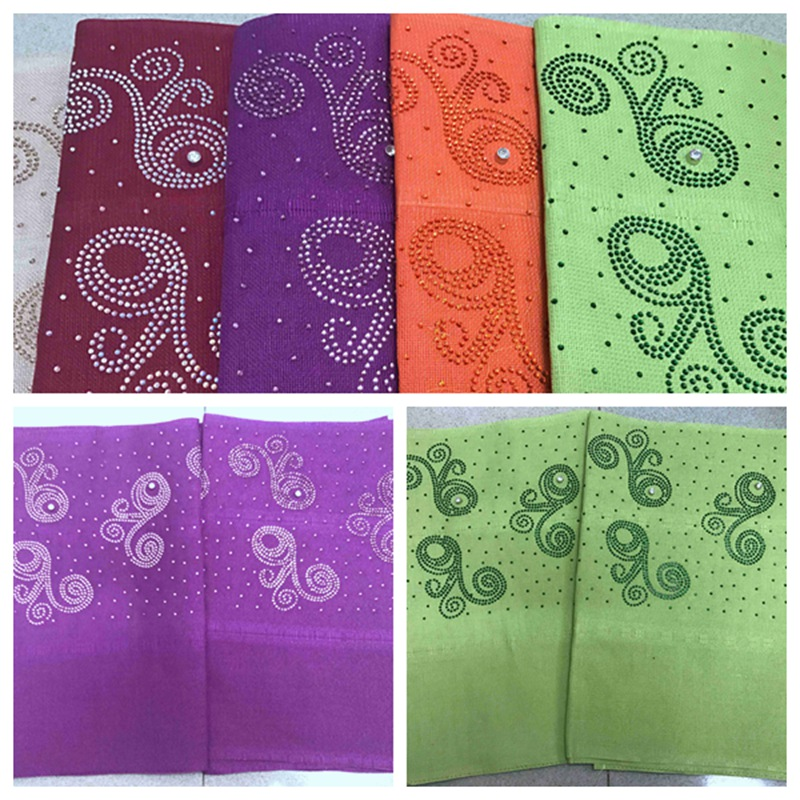 2018 designs fashion nigerian aso oke gele headtie embroidery with beads stones good quality wraps fabric  2piece/set  for women2018 designs fashion nigerian aso oke gele headtie embroidery with beads stones good quality wraps fabric  2piece/set  for women