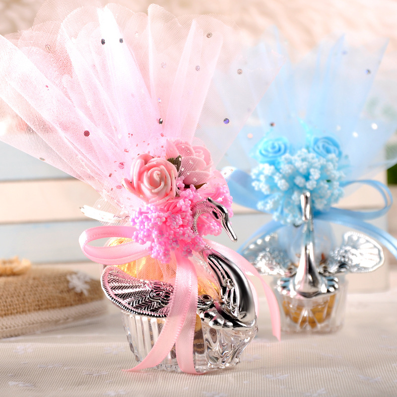 100pcs European Styles Acrylic Silver Elegant Swan Candy Box Wedding Gift Favor Party Chocolate Boxes Full