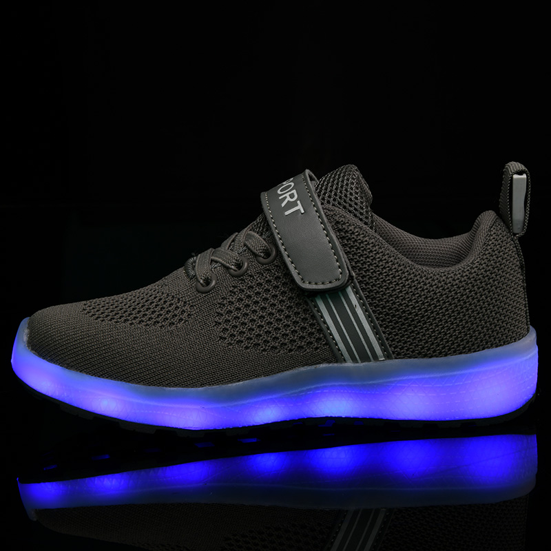 Kids Sport Shoes LED Light Luminous Sneakers Small Bee Girls Boys Trainers Flats