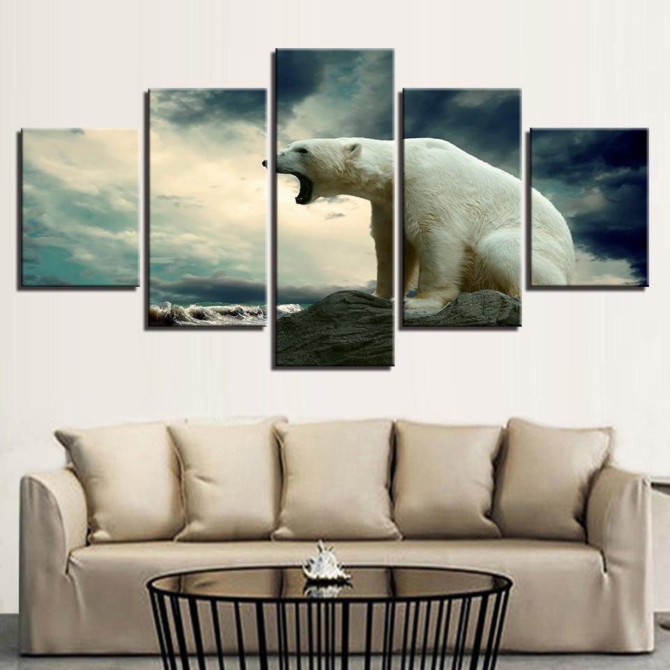 Home Decor Impresso Pintura A Óleo Da Lona Arte Da Parede Painel 5 Roaring Urso Polar Cartaz Parede Pictures Para Sala Modular fotos
