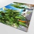 Тропический пляж зеленые пальмы попугаи 3d печать Нескользящая микрофибра гостиная декоративная Современная моющаяся область коврик