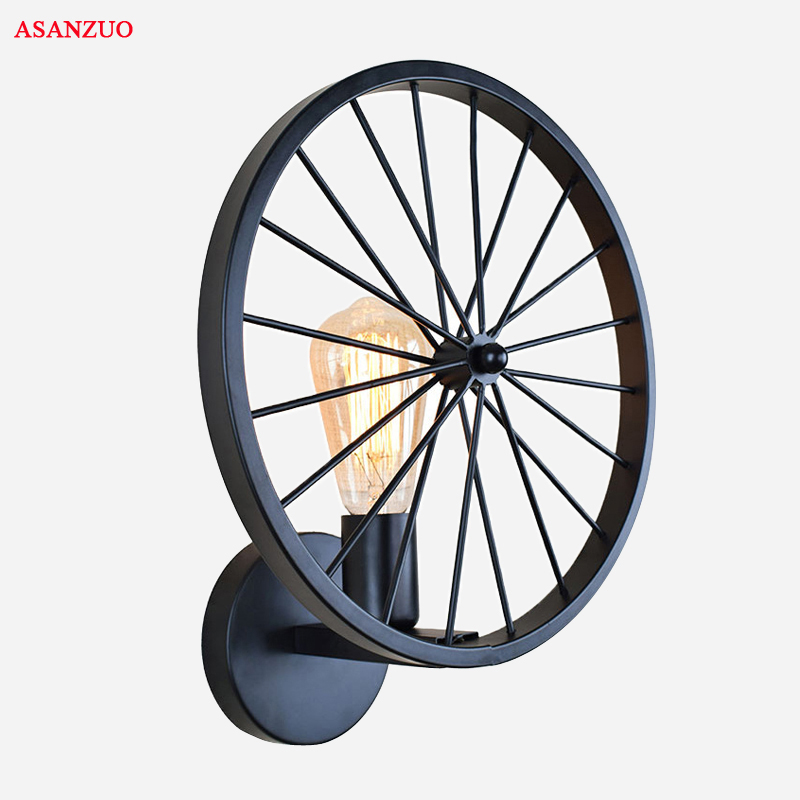 Single head Iron Bicycle Wheel Wall Lamps Indoor Wall Lighting Fixture for Living Dinning Room Home Lighting industral style Single head Iron Bicycle Wheel Wall Lamps Indoor Wall Lighting Fixture for Living Dinning Room Home Lighting industral style