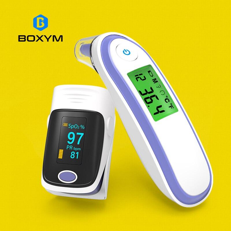 BOXYM Medizinische Finger-pulsoximeter und Infrarot Ohr & Stirn Thermometer SPO2 PR oximetro de dedo Haushalt Gesundheit