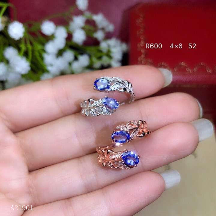 KJJEAXCMY boutique jewelryar 925 Silver-inlaid Natural Tanzanite Gemstone Ring Support Detection oiqw