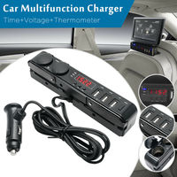 Multi Socket Car Cigarette Lighter LED USB Charger Adapter Thermometer Voltmeter