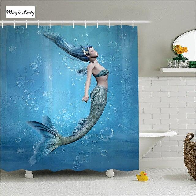 Shower Curtain Litle Mermaid Bathroom Accessories Fishtail Bubble Mythical  Creature Ocean Blue Beige Home Decor 180