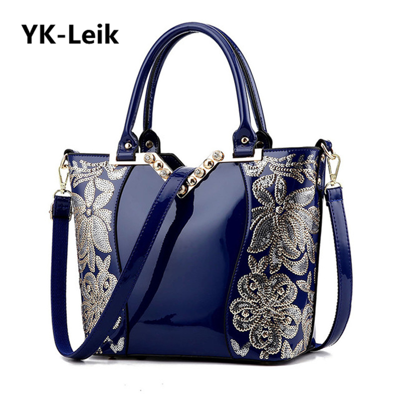 YK-Leik European and American large-capacity handbags high-quality patent leather embroidery flowers ladies shoulder bag