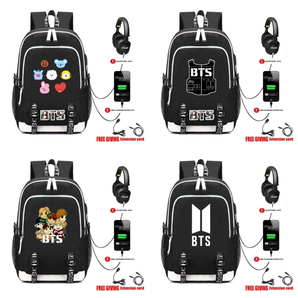BTS BT21 TATA SHOOKY Laptop Backpack External USB Charge Bag Headset port Backpack Shoulder School Bags сумка asics 134934 1087 bts backpack