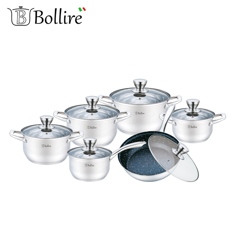 Cookware Sets BOLLIRE BR-4006 set of pans stainless steel pan everything for the kitchen kitchen tongs silica gel stainless steel barbecue pizza bread steak clip