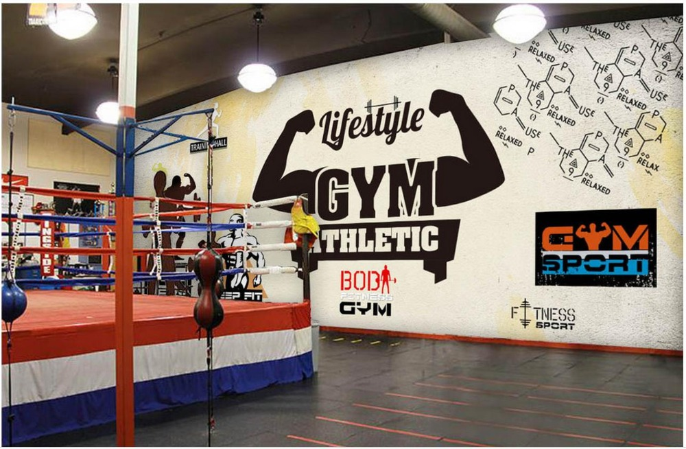Custom Mural Wallpaper For Bedroom Walls Wide vintage sports fitness club image wall background wall gym mural 3d room wallpaper