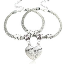 4677dd2b2cae 2 unids set plata antigua popular flor madre hija amor corazón brazalete  pulsera encanto joyería regalo
