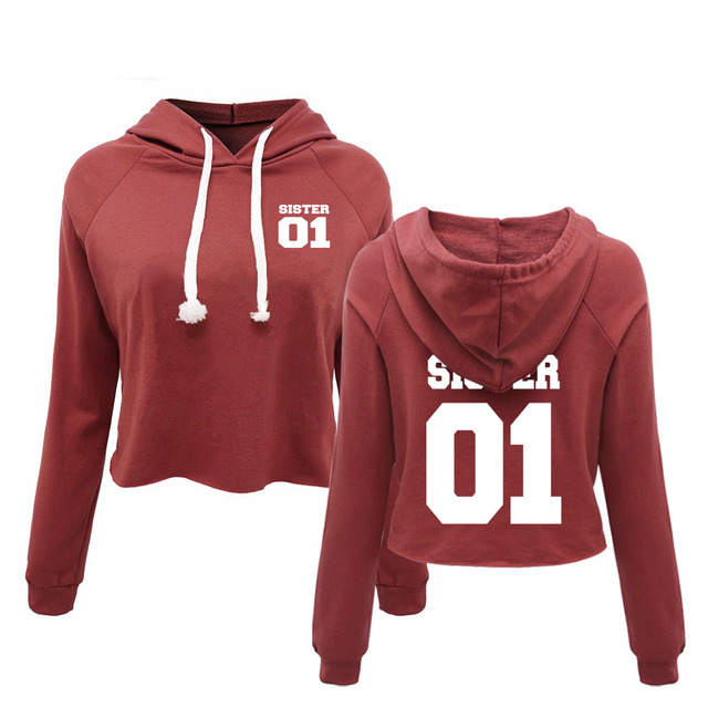 Best Friends Cropped Sweatshirts Sister   Your Number Custom Women s  Personalized Team Name  01df38c44