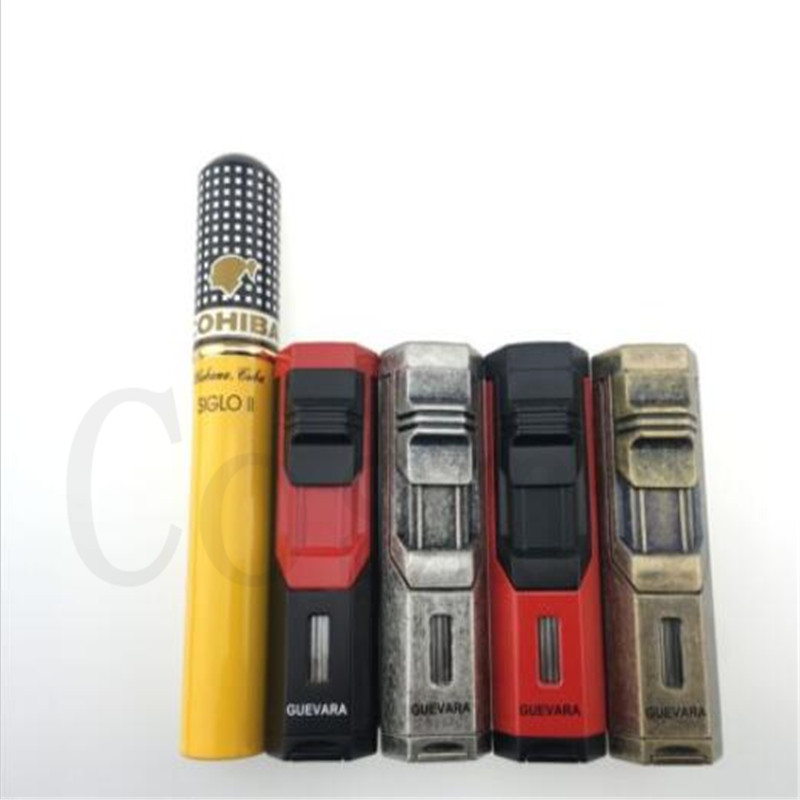 Guevara Novelty Windproof Single Flame Cigar Lighter Antique Torch straight into the portable inflatable lighter