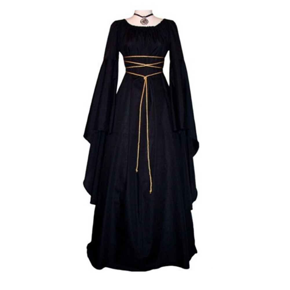 Medieval Women Vintage Royal Sexy Long Sleeve Narrow Waist Long Floor Dress Maxi