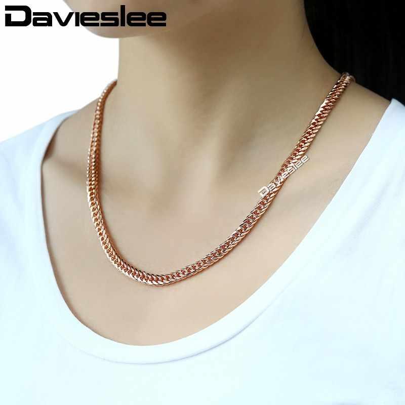 """Davieslee נשים Mens שרשרת קישור קובני שרשרת שרשרת רוז גולדפילד תכשיטי זהב מתנה אופנתית 5 מ""""מ 18-28 inch LGN162"""
