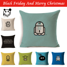 PEIYUAN Star Wars Cartoon Pillow Case Linen Printed Square Plain Decorative Cushion Cover