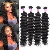8A Peruvian Deep Wave Bundles Unprocessed Virgin Curly Hair Weave Remy Wavy Human Hair Extensions 3 4 Bundles Deals #1B Color