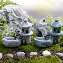 Миниатюрный пейзаж ретро украшения пруда для сада башня Пейзаж Сад миниатюрный бонсай смолы реалистичные фигурки газон DIY