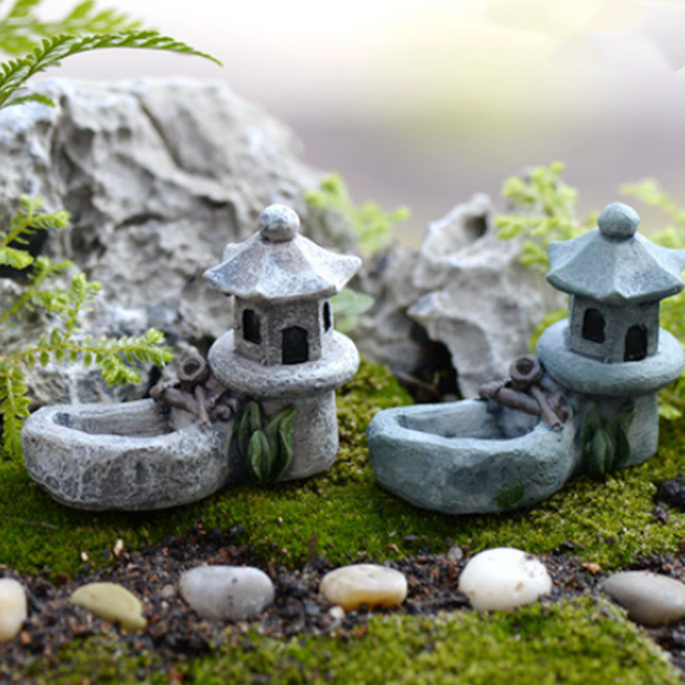 Miniature Landscape Retro Pond Decoration For Garden Tower Landscape Garden Miniature Bonsai Resin Lifelike Figurines Lawn DIY